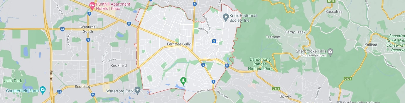 Ferntree Gully area map