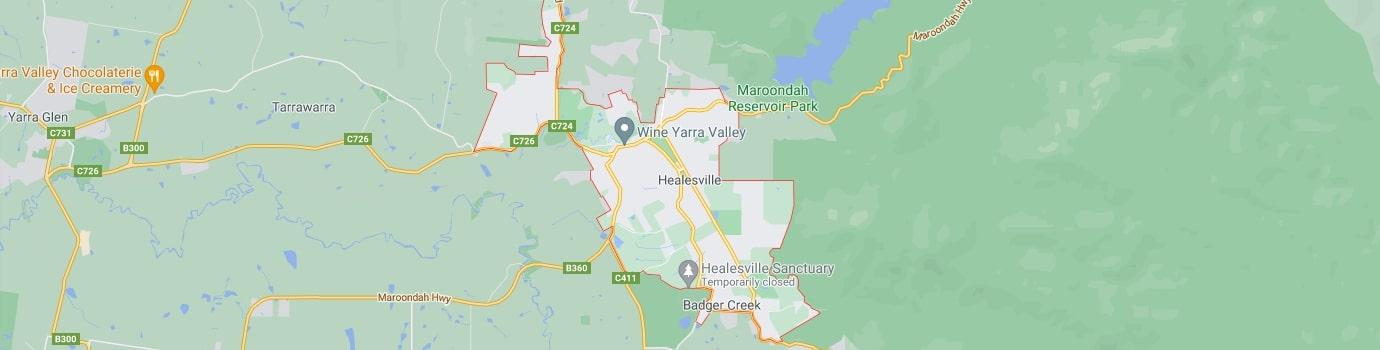 Healesville area map
