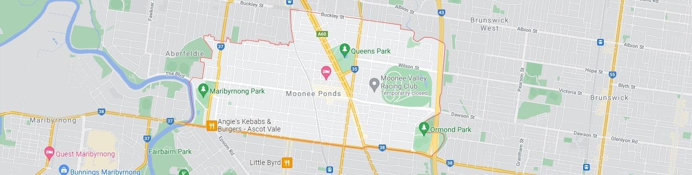 Moonee Ponds area map