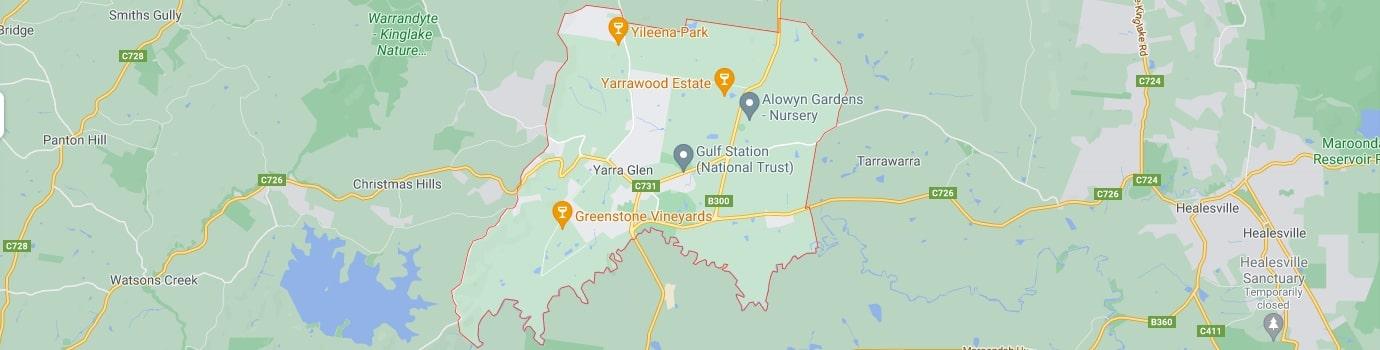 Yarra Glen area map
