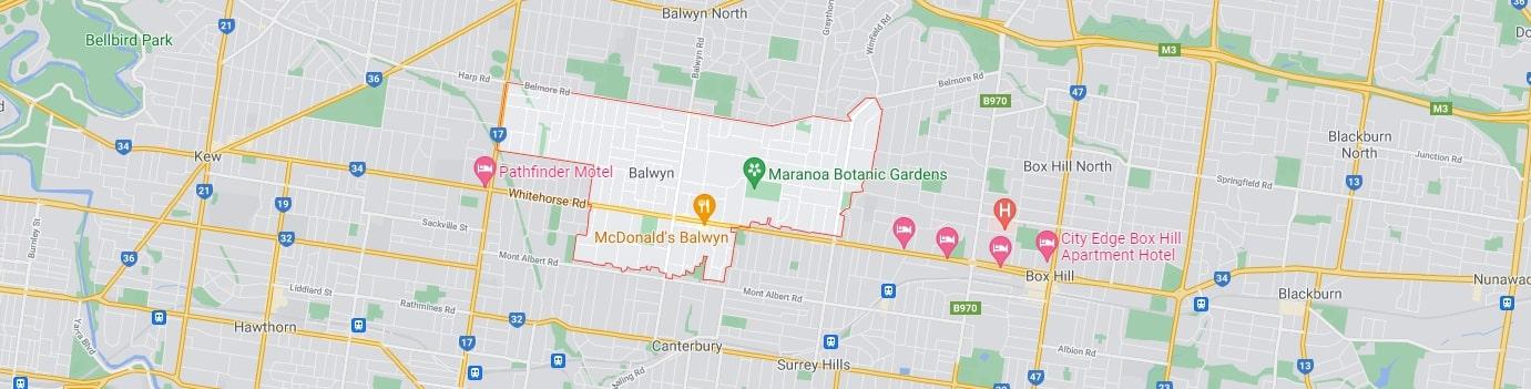 Balwyn area map