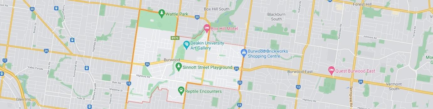 Burwood area map