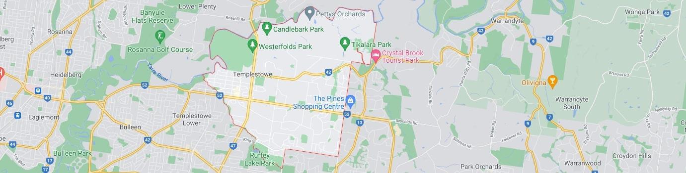 Templestowe area map