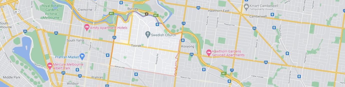 Toorak area map